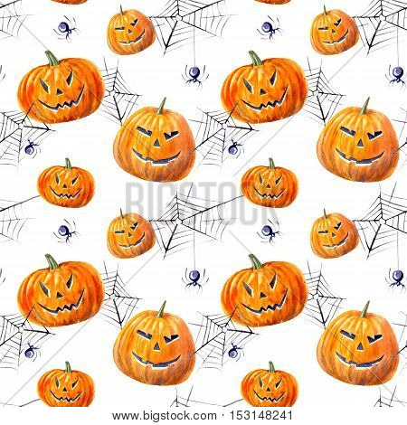 seamless pattern with pumpkin lanterns, web and spider .watercolor hand drawn illustration.white background.