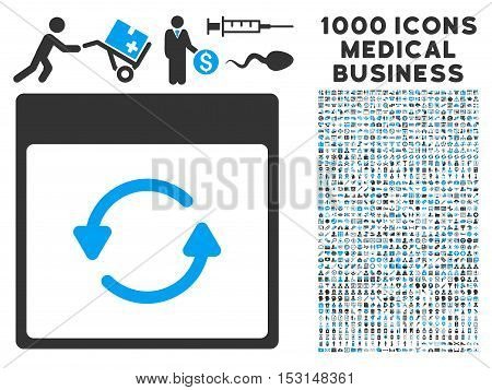 Blue And Gray Update Calendar Page glyph icon with 1000 medical business pictograms. Set style is flat bicolor symbols, blue and gray colors, white background.