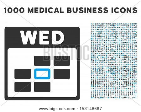 Blue And Gray Wednesday Calendar Grid glyph icon with 1000 medical business pictograms. Set style is flat bicolor symbols, blue and gray colors, white background.