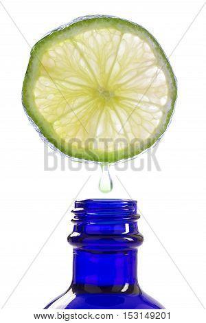 Lemon essence Refreshing aromatherapy on white background
