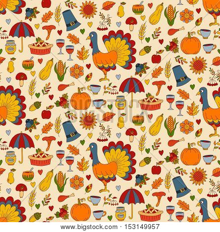 Thanksgiving day doodles with american holiday symbols seamless vector pattern