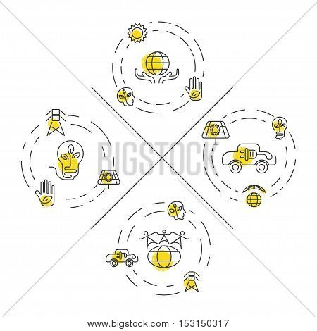 Set of Ecology and Environment Business template website. Environmental protection and pollution set of icons in thin line design. Vector illustration eps10