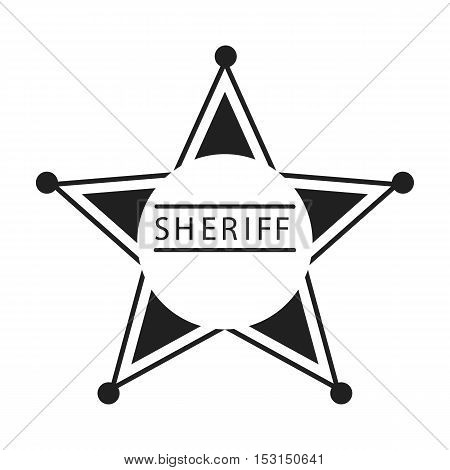 Sheriff icon in black style isolated on white background. Wlid west symbol vector illustration.