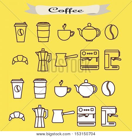 Set of coffee vector line icons. Coffee cups, cezve and machine.