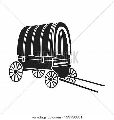 Cowboy wagon icon in black style isolated on white background. Wlid west symbol vector illustration.