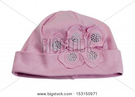 Children pink cap. Isolate on white. accessory
