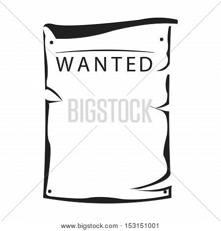 Wanted icon in black style isolated on white background. Wlid west symbol vector illustration.