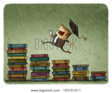 illustration of education process. Graduate in square academic cap running upstairs by book columns.
