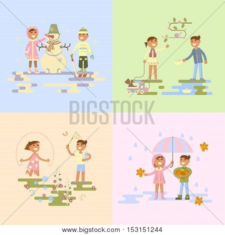 Set with babies. Flat design, boy and girl four seasons. autumn, winter, spring, summer. Cartoon characters, illustration vector eps10