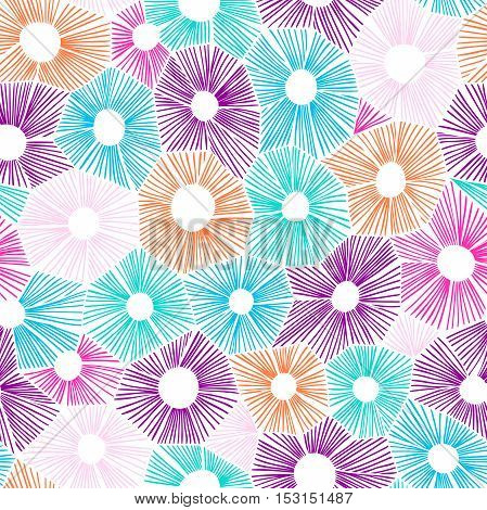 Vector abstract pattern made of circles, honeycomb or hexagon shape grid. Hatching handdrawn backdrop.