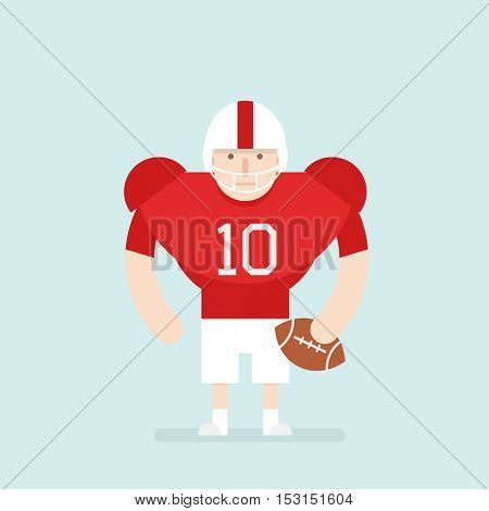 Flat character. American football player with ball