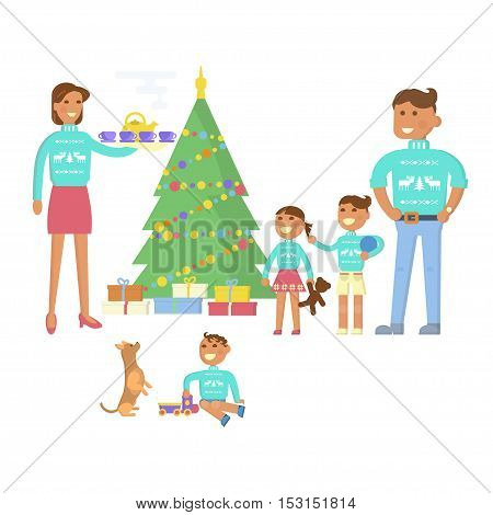 Happy family concept. Flat design Christmas Eve, mother, father, children, son, daughter, baby in the same pullover with deer. Christmas tree, gifts. Cartoon characters, illustration vector eps10