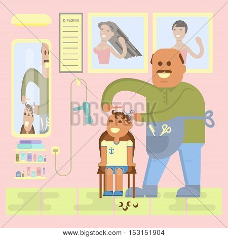 Professional bald-headed hairdresser is cutting to baby boy hair on hairsaloon background. Cartoon characters in flat design. Vector illustration eps10