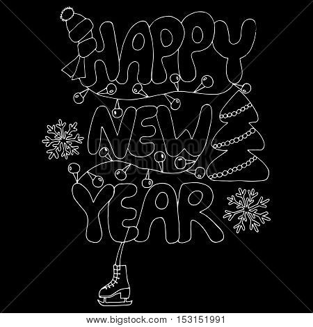 Happy New Year text with snowflake skates tree and garland on the black background. New Year Greeting card design. Vector illustration.