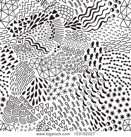 Seamless abstract pattern in retro memphis style. Black and White vector illustration.