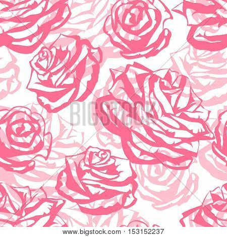 Seamless pattern with pink roses. Fashion natural background.