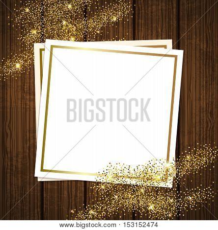 Vector golden shining background for design. Paper frame on a wooden background.