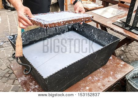 old papermaking craft hand canvas liquid paper