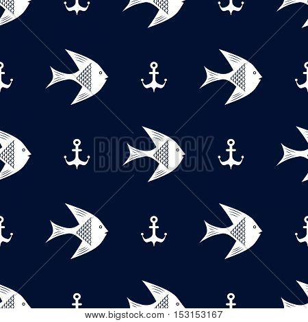 Maritime mood, Seamless nautical pattern with fishes and anchors