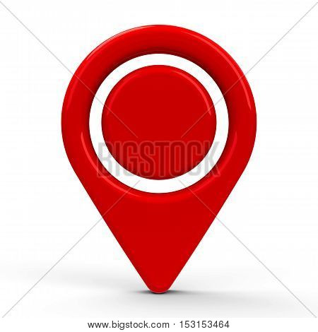 Red map pointer with dot in the middle isolated on white background three-dimensional rendering 3D illustration