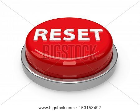 Red reset button isolated on white background three-dimensional rendering 3D illustration