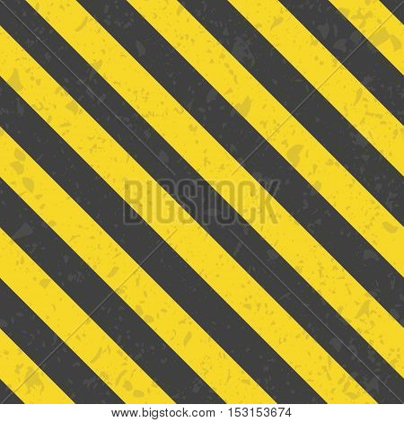 Industrial striped seamless pattern. Black Orange destroyed diagonal lines template. Grunge striped cunstruction background vector illustration.