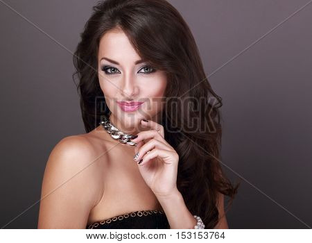 Beautiful Bright Makeup Woman In Fashion Necklace With Curly Long Hair Style Looking On Empty Copy S