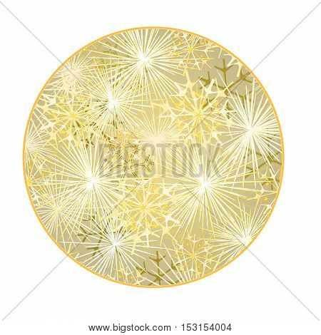 Button circular New Year fireworks gold background vector illustration