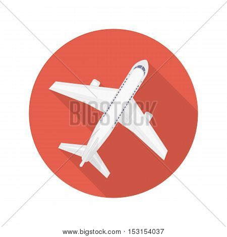 Airplane vector icon. Travel sign with aircraft. Modern icon air transportation.