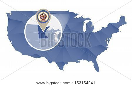 Minnesota State Magnified On United States Map.
