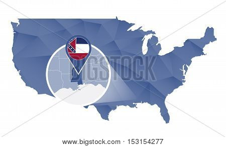 Mississippi State Magnified On United States Map.