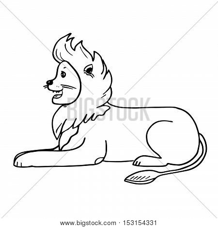 Lion with friendly face. Funny animal character isolated on white background. Joyful big cat. For prints, designs, kids room interior or coloring book pages.