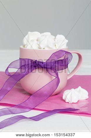 Sweet Meringue In Cup As A Gift
