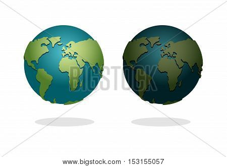 Earth Night And Day Set. Nighttime Planet In Space. Stars In Galaxy. Astronomy Illustration