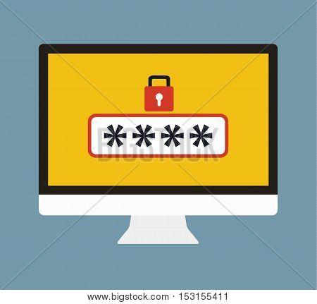 Password Security - Protection Of User Data - Anti Phishing - Password Lock Vector Flat Illustration Icon Stock