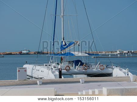 Catamaran boat in the marina Varadero, Cuba