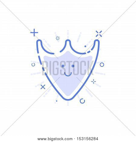 Vector illustration of icon shopping concept web protected in line style. Linear blue shield with cute smile. Design for internet, banner, web page and mobile app. Outline object e-commerce.