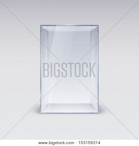 Empty Glass Showcase. Illustration on White Background