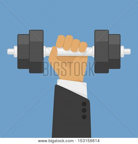 Hand of Businessman holding dumbbell. Strength, power and success concept. Vector illustration in flat style. EPS 10.