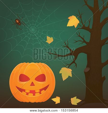 Vector illustration for halloween holiday. Terrible pumpkin with big teeth web with spider and dark tree with yellow autumn lives