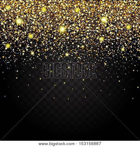 Effect of flying parts gold glitter luxury rich design background. Dark background effect. Stardust spark the explosion on a transparent background. Luxury. Vector illustration.