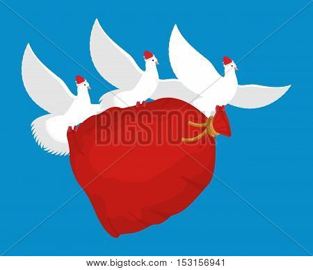 Pigeon Santa Claus Carries Sack With Gifts. Red Bag For Toys And Sweets. White Dove In Cap. Flying B