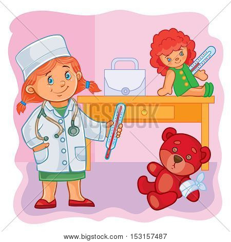 Vector illustration of a little girl doctor treats their toys