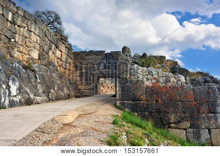 The Lion Gate In Ancient Mycenae, Greece