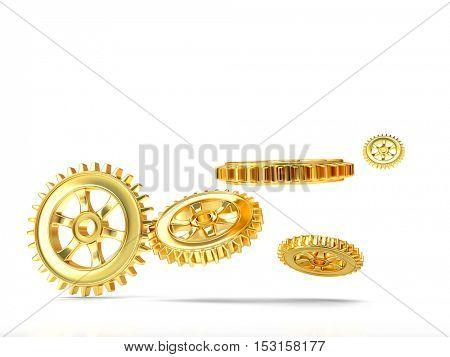 3d rendering of golden gear on white