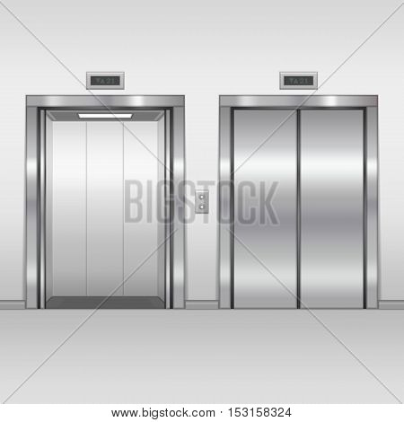Open and closed chrome metal building elevator doors. Realistic vector illustration. Hall Interior in Gray Colors.