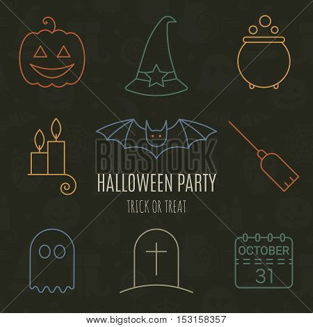 Halloween linear icons set with editable stroke on black background for holiday design. Line pictograms of bat, ghost, pumpkin, potion, calendar, broom, hat, candle, tombstone. Vector illustration.