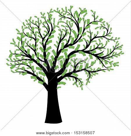 Money tree in shape of human brain. Big tree with dollar bills in form of human brain instead of leaves. Vector illustration Concept of financial thinking development of profit strategy