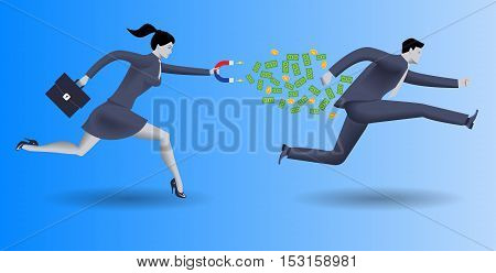 Debt collector business concept. Confident business woman in business suit with magnet in one hand and case in other chases another businessman and pulls money out of him.