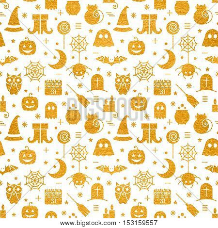 Seamless Halloween gold textured pattern with festive Halloween icons. Golden design for wrapping paper, paper packaging, textiles, holiday party invitations, greeting card. Vector illustration.